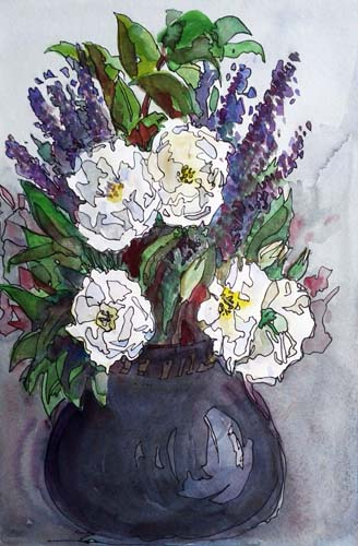 2716 White roses and lavender