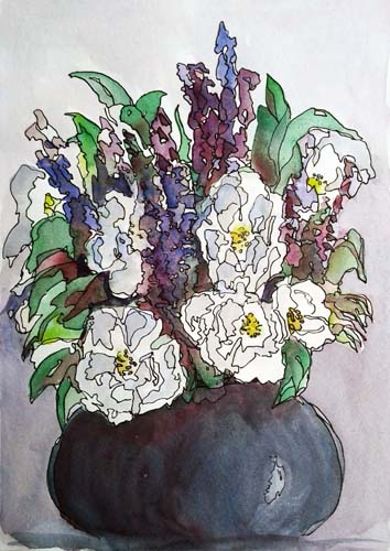 2718 Bowl of lavender and white roses